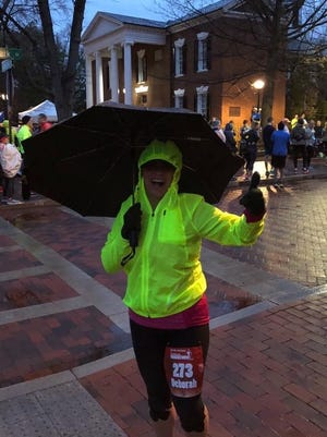 Waynesboro's Deb Swope poses for a photo during last weekend's Charlottesville Marathon. Swope completed her 20th marathon in 5:01:52.