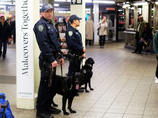 NYPD canine officers on subway patrol at Times Square