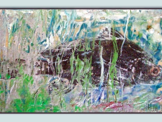 """Fish Pond"" by Peg Haubert  using Encaustic w/mixed"
