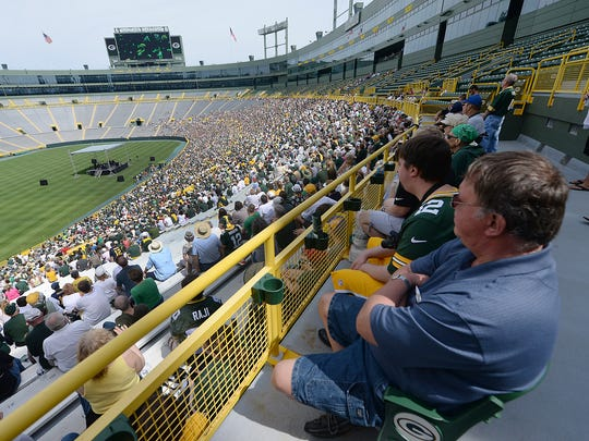 Green Bay Packers shareholders attend the 2015 annual meeting at Lambeau Field.