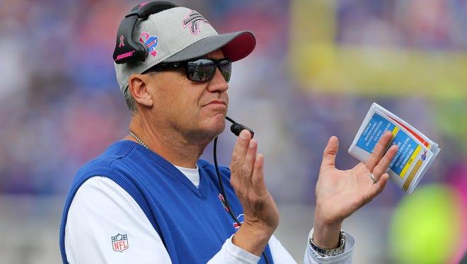 Bills head coach Rex Ryan wasn't smiling long against the Giants.