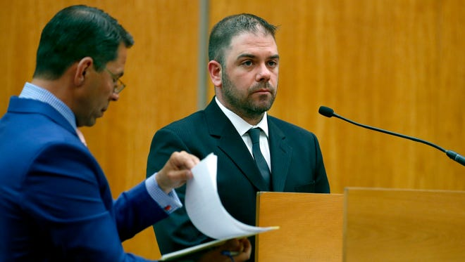 Ryan Pettrone, seen here at an earlier hearing, was sentenced to eight weekends in jail for a hit-and-run accident on Monday.