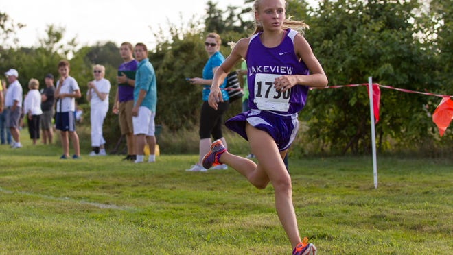 Logann Haluszka of Lakeview won the All-City Cross Country race on Wednesday at Riverside Elementary.