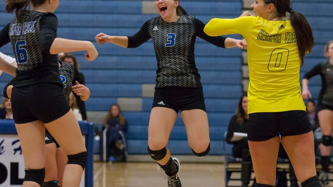 Katie Wade of Harper Creek celebrates a point with her team during this district championship win over Marshall.