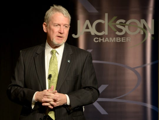 Jackson Chamber CEO Kyle Spurgeon speaks to Chamber