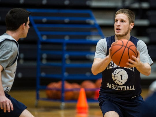 Sam Light, Lebanon Valley College junior and Northern Lebanon High School grad, practices with the LVC men's team on Monday, Dec. 5, 2016. Light recently scored his 1,000th collegiate point.