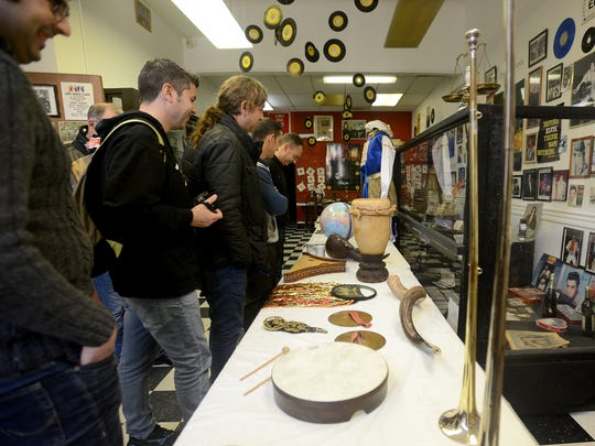 Musical Instruments of the Bible are on display at the International Rock-A-Billy Hall of Fame in Jackson. Members of the Spanish band Tremendos took a tour of the museum.