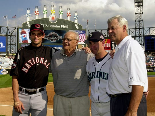 Here on Father's Day, we take a look back at some of the famous father-son duos in MLB history: Aaron Boone and his brother, Bret, pose with their grandfather, Ray, second left and father, Bob.