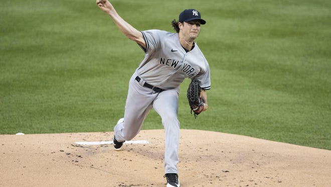 New York starting pitcher Gerrit Cole allowed one run and one hit in five innings Thursday in the Yankees' 4-1 win over the Washington Nationals at Nationals Park in Washington.