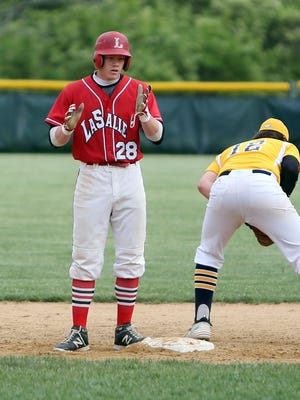 La Salle's Anthony Bell celebrates his two-run double in the sixth inning.