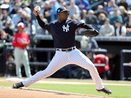 New York Yankees starting pitcher Luis Severino (40) throws a pitch during the first inning against the Philadelphia Phillies at George M. Steinbrenner Field.