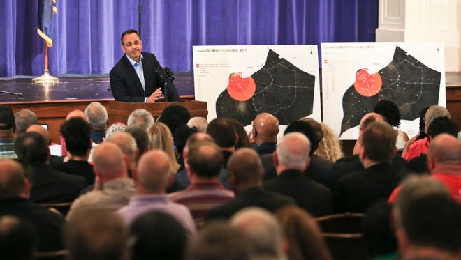 """Gov. Matt Bevin told the audience of around 400 that roaming prayer groups in the city's West End could be a start of helping curb the violence. """"I'm going to ask you to walk that block, do it at the same time every single week,"""" Bevin said. """"I'm going to ask you to stick with your block all year."""""""