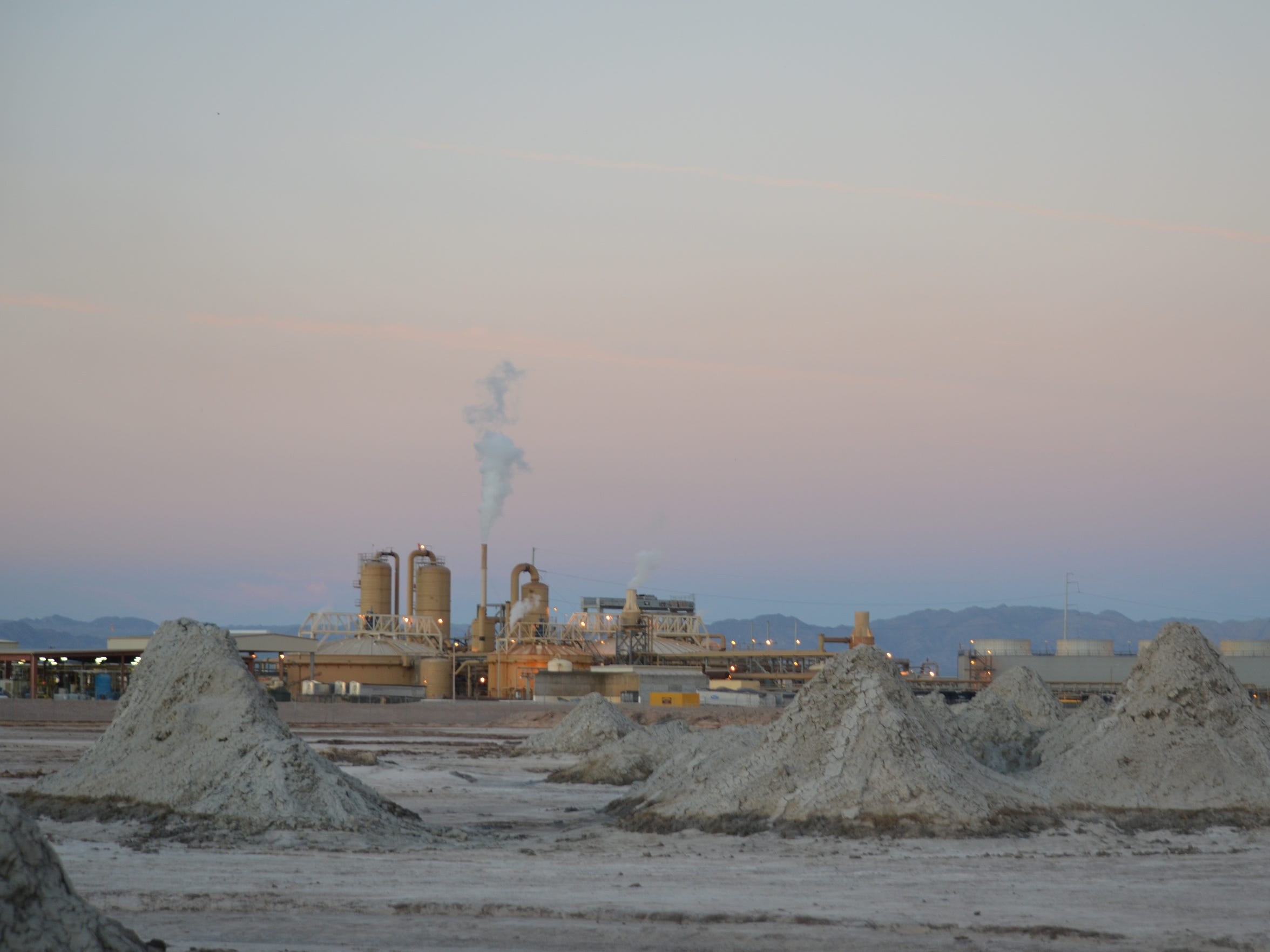An Imperial Valley geothermal plant, seen from the mud volcanoes and mud pots by the shore of the Salton Sea.