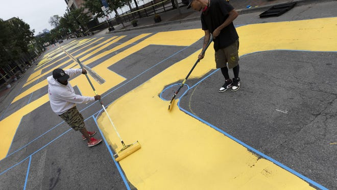 Tuscaloosa Councilwoman Sonya McKinstry said she is hopeful that a Black Lives Matter mural, like this one being painted on a Boston street last month, can be added to a downtown city street.