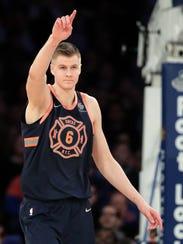 New York Knicks forward Kristaps Porzingis (6) reacts