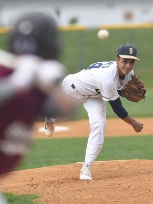 Beacon High School's Lenny Torres pitches to a hitter from Ossining on April 29 at Beacon.