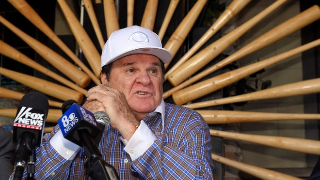 Former baseball player and manager Pete Rose speaks at a news conference, Tuesday, Dec. 15, 2015, in Las Vegas, after Major League Baseball commissioner Rob Manfred announced Monday that he had rejected Rose's plea for reinstatement. Rose agreed to the ban in August 1989 after an investigation found that he had bet on the game while he was a manager for the Cincinnati Reds. (AP Photo/Mark J. Terrill)