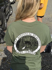Abby Turner shows off the Lake Bistineau Cleanup logo