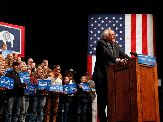 Bernie Sanders speaks to supporters during his campaign