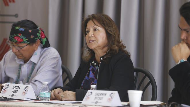 Navajo Nation Poet Laureate Laura Tohe talks about the history of Navajo writers during a gathering of Diné writers as part of Diné (Thinking) Space on Thursday at Navajo Technical University in Crownpoint.
