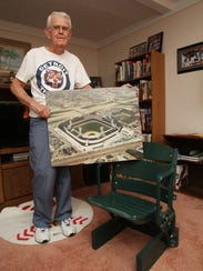 Tigers fan Art Neff proudly shows off his refurbished