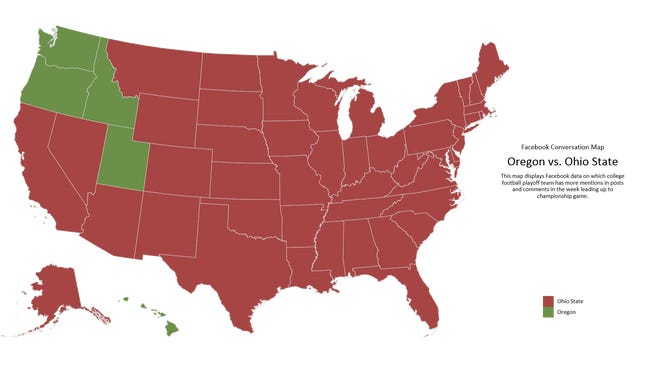 Facebook conversation map (Ohio State in red, Oregon in green)