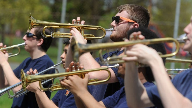 Members of the William Penn High School marching band participated in the Education First Parade and Rally at Penn Park in York on Saturday, May 2, 2015.
