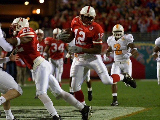 Nebraska's Bobby Newcombe runs for a 60-yard touchdown