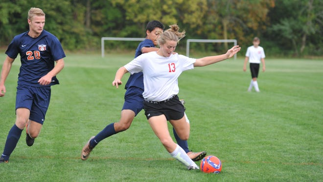 Pierce Krassow takes aim at the goal Monday evening against Galion. She opened the scoring early in the match.