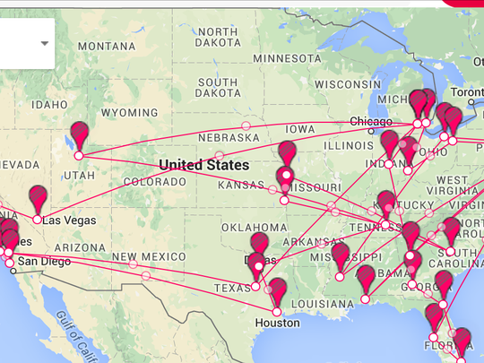 Map of all the stops in the continental U.S. on the Michigan satellite camp tour.