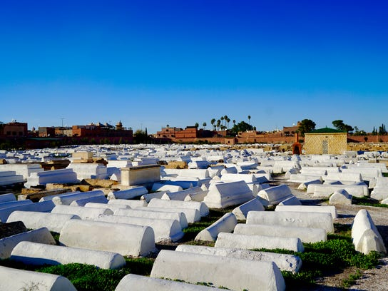 The 500-year-old Bab Ghmat Jewish Cemetery of Marrakesh, Morocco.