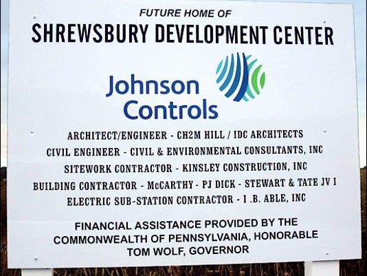 Johnson Controls Shrewsbury Development Center Sign along Renaissance Drive within Stonebridge Business Center at Exit 4 of Interstate-83 (2015 Photo, S. H. Smith)