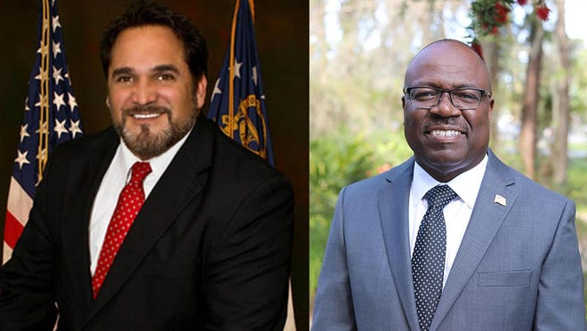 Candidates for Chatham County Commission District 7, from left: incumbent Republican Dean Kicklighter and Democratic challenger Orlando Scott.