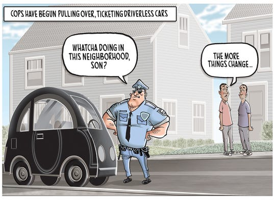 Police officer tickets a driverless car