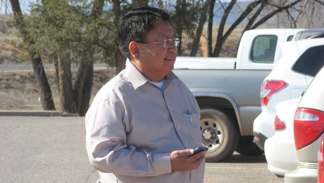 Navajo Nation Council Delegate Mel R. Begay stands outside Window Rock District Court on March 14.  Begay was found guilty of misusing a financial assistance program designed to help tribal members with financial emergencies.