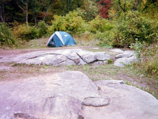 There's no camping allowed at Pine Meadow Lake, but you wouldn't know it from this tent seen one day in April.