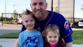 Mets third baseman Todd Frazier poses with his son, Blake, 4, and daughter Kylie, 2, in 2018.