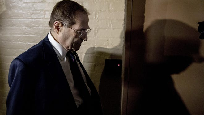 In this March 25, 2019 photo, House Judiciary Committee Chairman Jerrold Nadler, D-N.Y., leaves a House Democratic meeting in the U.S. Capitol Building on Capitol Hill in Washington. The House Judiciary Committee will ready subpoenas this week for special counsel Robert Mueller's full Russia report. This, as the Justice Department appears likely to miss an April 2 deadline set by Democrats for the report's release. (AP Photo/Andrew Harnik)