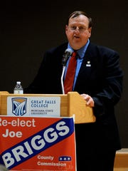 Cascade County Commissioner Joe Briggs debates Mitch Tropila in Heritage Hall at Great Falls College MSU on Friday evening.