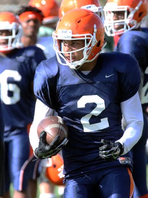 UTEP wide receiver Terry Juniel, 2, looks downfield during Tuesday's practice at Glory Field.