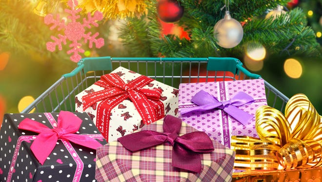 Christmas gifts and presents in shopping