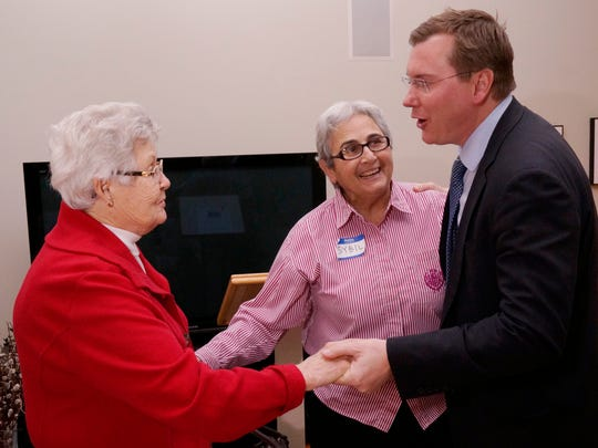 Candidate for the U.S. House Bobbie McKenzie meets Sybil Offen and Joan Collins.