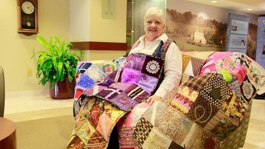 Janet Wyckoff of Hopewell donated 18 fidget quilts she made to Hunterdon Medical Center. The quilts give Alzheimer's patients and others a chance to explore textures and activities like pulling zippers.