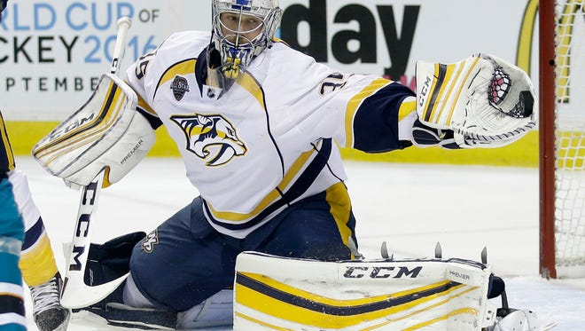 Nashville Predators goalie Pekka Rinne stops a shot during the first period of Game 1 of the  Western Conference semifinals on April 29, 2016.
