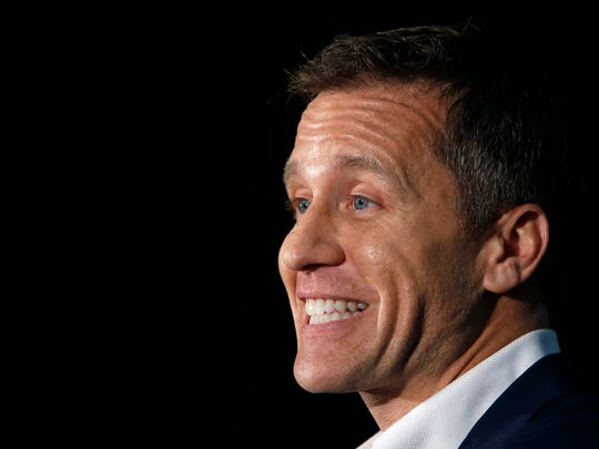 Missouri Gov. Eric Greitens speaks at a rally in support