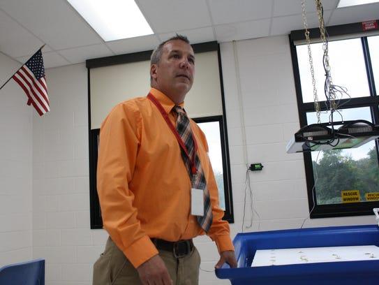 Chris Mahon teaches sixth-grade aquaponics at Owego