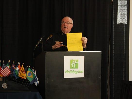 Broome County Sheriff David Harder speaks to the Binghamton