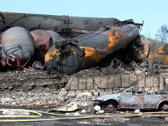 A train carrying crude oil derailed last July and killed 47 people and torched a large section of downtown Lac-Megantic, Quebec, Canada. The Canadian Press/AP