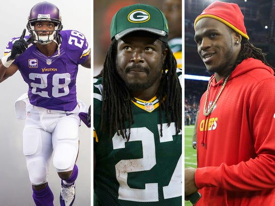 From left: Adrian Peterson, Eddie Lacy and Jamaal Charles.
