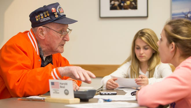 """D-Day veteran Harold Beal shares his experiences with students taking part in an interview program in Bangor, Maine. """"I try to teach them the value of freedom,"""" he says."""